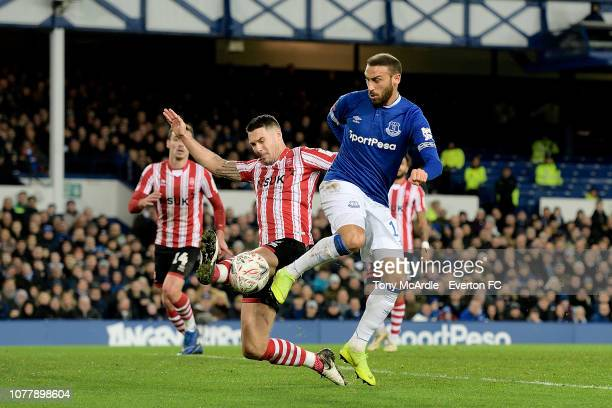 Cenk Tosun of Everton with a chance on goal during the Emirates FA Cup Third Round match between Everton and Lincoln City at Goodison Park on January...
