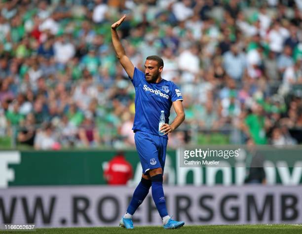 Cenk Tosun of FC Everton gestures during the preseason friendly match between SV Werder Bremen and FC Everton at Wohninvest Weserstadion on August 03...
