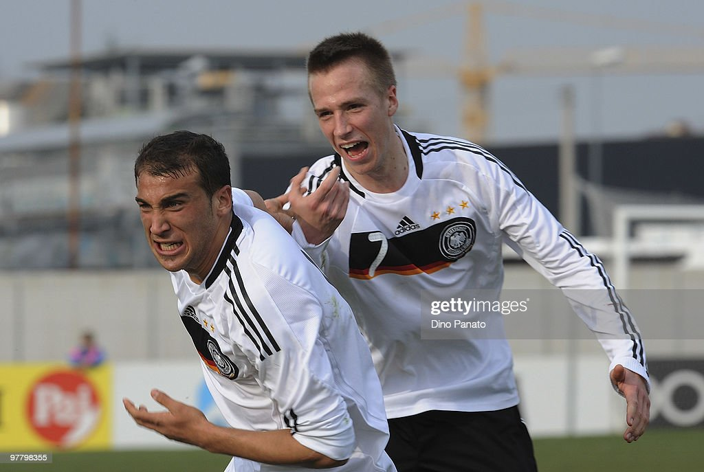 Cenk Tosun of Germany celebrates after scoring his team's first goal during the U19 International Friendly match between Italy and Germany on March 17, 2010 in Sacile, Italy.