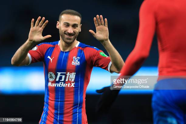 Cenk Tosun of Palace celebrates after the Premier League match between Manchester City and Crystal Palace at the Etihad Stadium on January 18 2020 in...