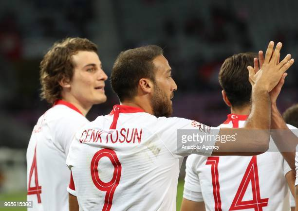 Cenk Tosun of Turkey celebrates after scoring during the friendly football match between Tunisia and Turkey at Stade de Geneve in Geneva Switzerland...