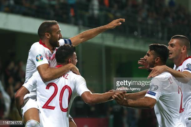 Cenk Tosun of Turkey celebrates with his teammates Deniz Turuc Mehmet Zeki Celik and Merih Demiral after scoring during the EURO Qualifiers 2019/20...