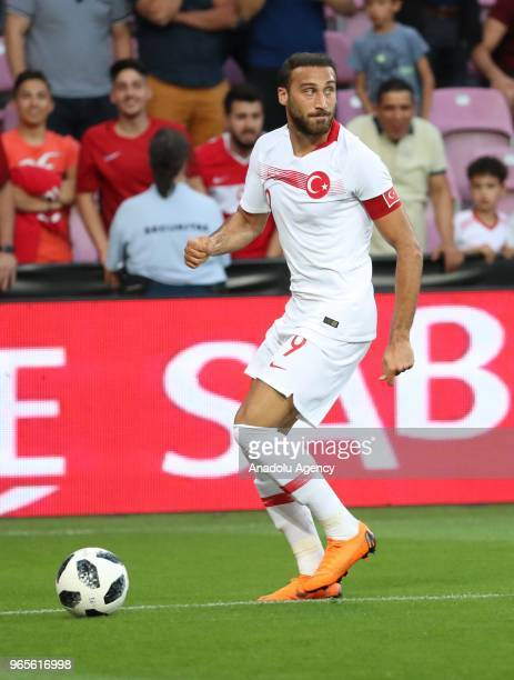 Cenk Tosun of Turkey in action during the friendly football match between Tunisia and Turkey at Stade de Geneve in Geneva Switzerland on June 01 2018