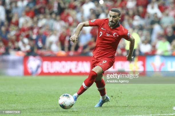 Cenk Tosun of Turkey in action during UEFA Euro 2020 European Championship Qualifiers Group H match between Turkey and Andorra at Vodafone Park in...