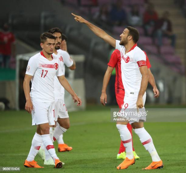 Cenk Tosun of Turkey reacts during the friendly football match between Tunisia and Turkey at Stade de Geneve in Geneva Switzerland on June 01 2018