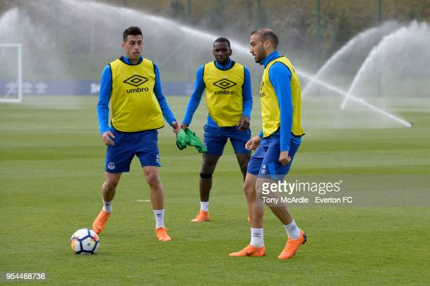 Cenk Tosun Yannick Bolasie and Ramiro Funes Mori during the Everton FC training session at USM Finch Farm on May 1 2018 in Halewood England