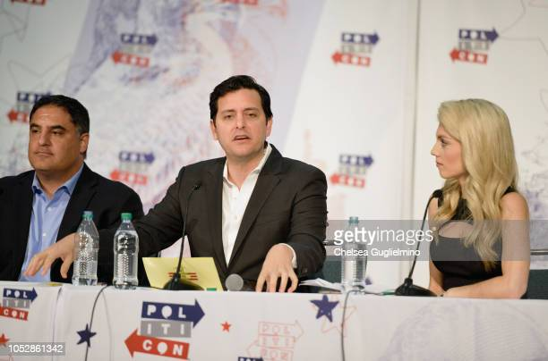 Cenk Uygur Ben Gleib and Liz Wheeler speak during Politicon 2018 at Los Angeles Convention Center on October 21 2018 in Los Angeles California