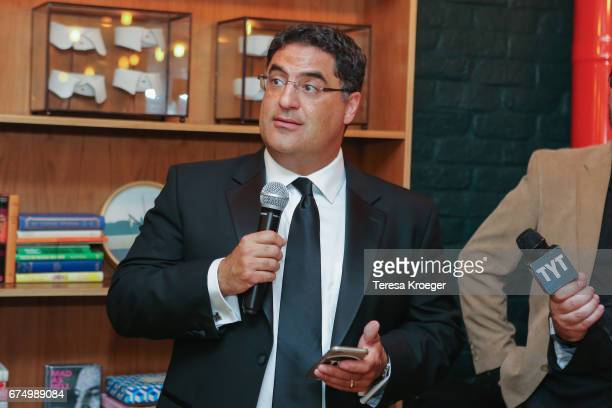 Cenk Uygur founder CEO and host of The Young Turks speaks at The Young Turks' Watchdog Correspondents' dinner on April 29 2017 in Washington DC