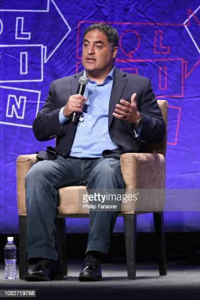 Cenk Uygur speaks onstage during Politicon 2018 at Los Angeles Convention Center on October 21 2018 in Los Angeles California