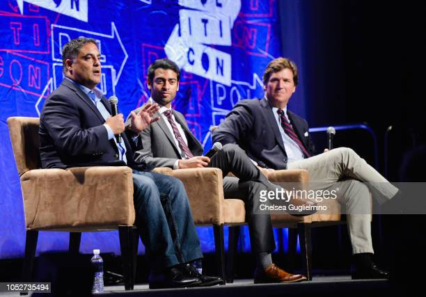 Cenk Uygur, Steven Olikara and Tucker Carlson speak during Politicon 2018 at Los Angeles Convention Center on October 21, 2018 in Los Angeles,...