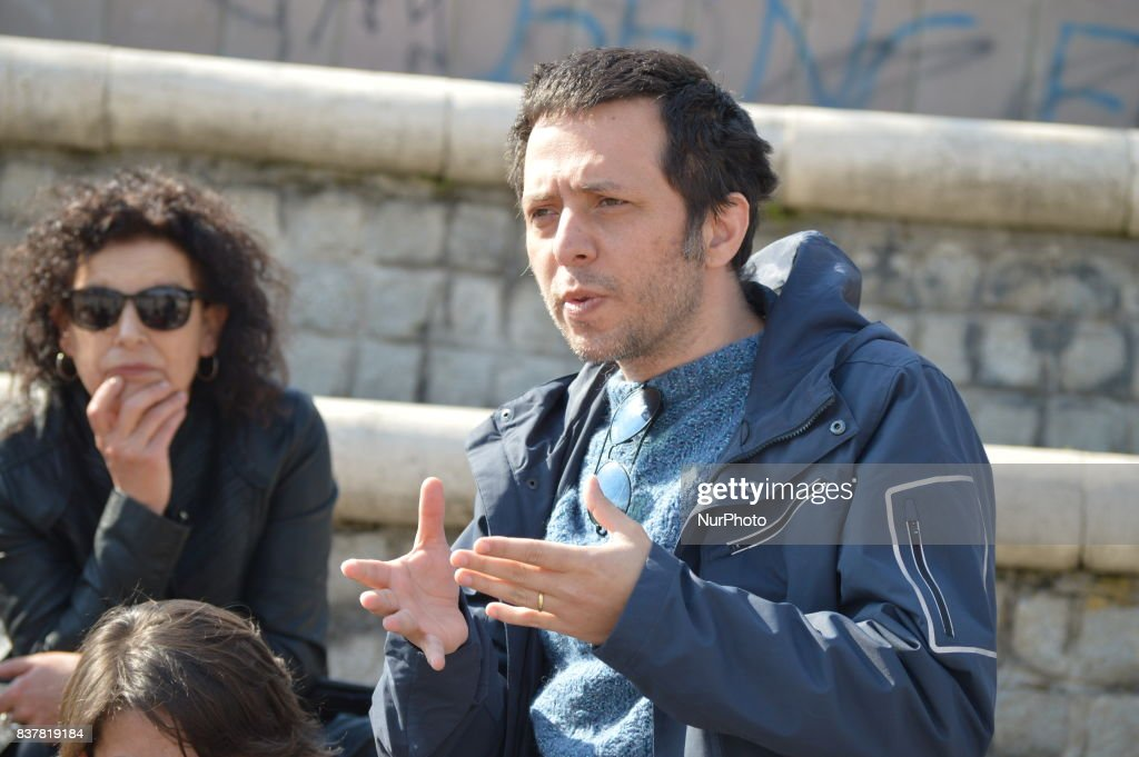 Cenk Yigiter, a former academic of Ankara University who was sacked by a decree-law of the state of emergency, speaks during an outdoor lecture in Ankara, Turkey on March 23, 2017. Ankara University issued a new internal rule in its regulations on August 08, indicating that it would not register students who were previously dismissed from public office, after Cenk Yigiter announced that he was planning to return to the university as an undergraduate student. Photo was taken on March 23, 2017 and was issued on August 23, 2017.