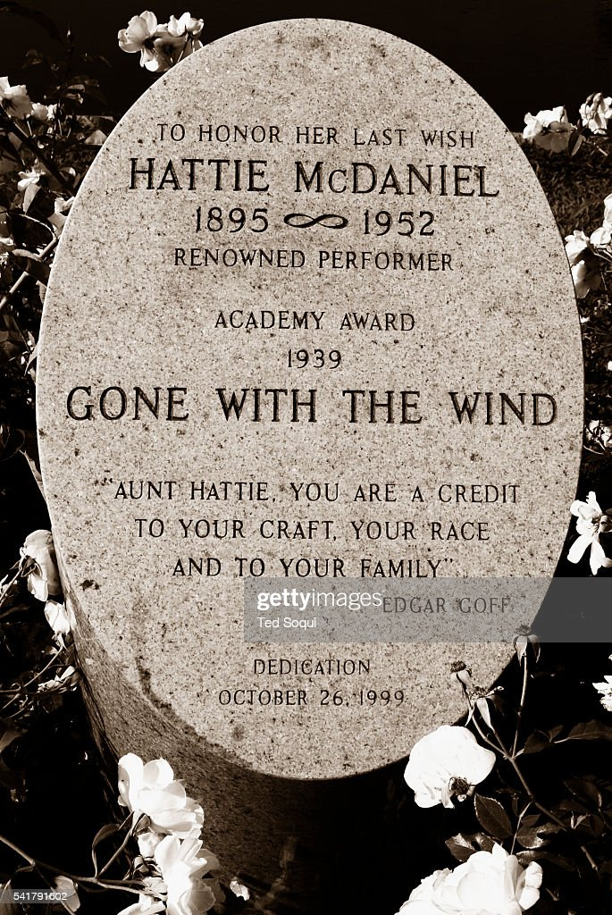 Cenotaph dedicated to actress Hattie McDaniel, 1895-1952, at the Hollywood Forever Cemetery. She wished to be buried at the cemetery orginally with her contemporaries, but was denied because of her race. She was the first African American to win an Academy Award for her performance in 'Gone with The Wind.' The dedication was later erected in 1999 by the Hollywood Forever Cemetery. The historic Hollywood Forever Cemetery is where many of Hollywood's major talent and players are buried.