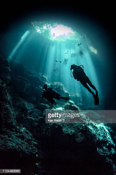 cenote cave diving, tulum, quintana roo, mexico - yucatan peninsula stock pictures, royalty-free photos & images