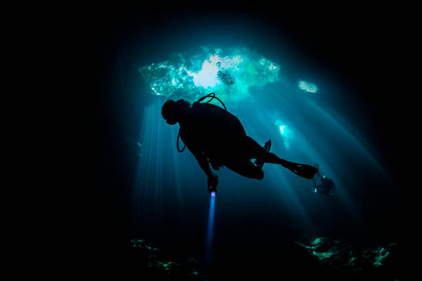Cenote cave diving, Tulum, Quintana Roo, Mexico