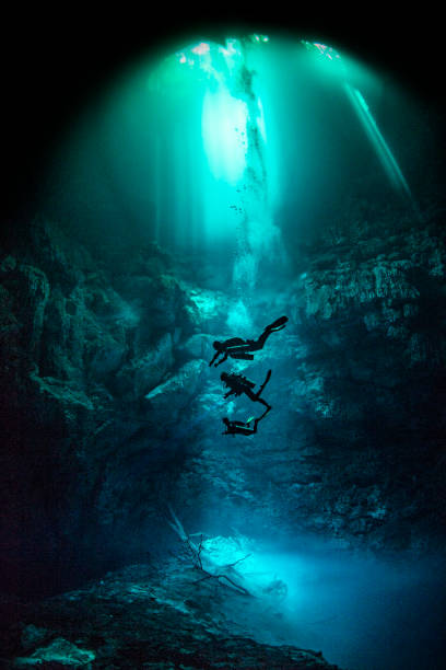 Cenote diving, Pit Cenote, Tulum, Quintana Roo, Mexico