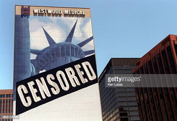 Censored has been placed over portion of mural in Westwood