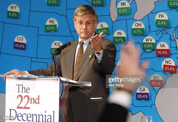 Census Bureau Director Kenneth Prewitt answers questions from reporters during a news conference December 28 2000 in Washington DC during the release...