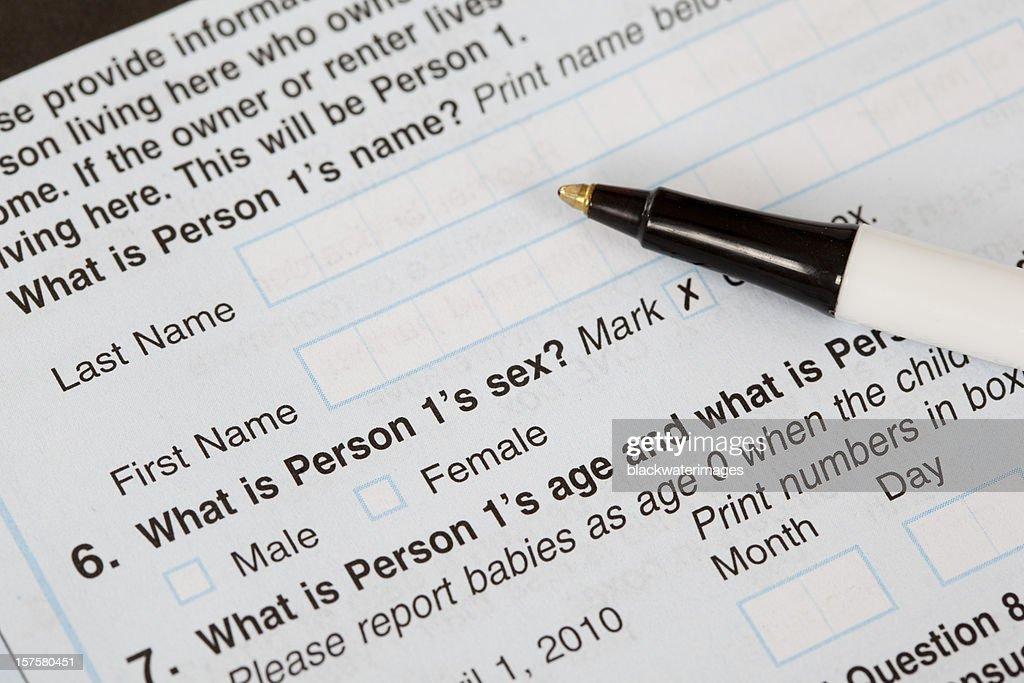 US Census Form : Stock Photo