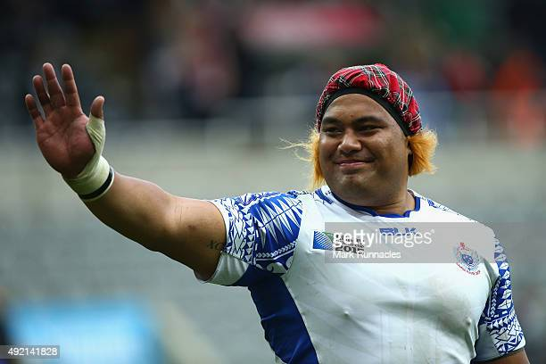 Census Johnston of Samoa wears a Jimmy hat after the 2015 Rugby World Cup Pool B match between Samoa and Scotland at St James' Park on October 10...