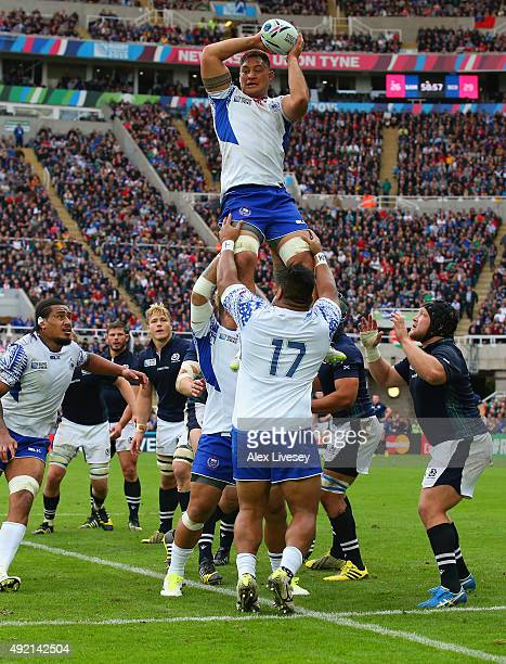Census Johnston of Samoa wins the line out ball during the 2015 Rugby World Cup Pool B match between Samoa and Scotland at St James' Park on October...