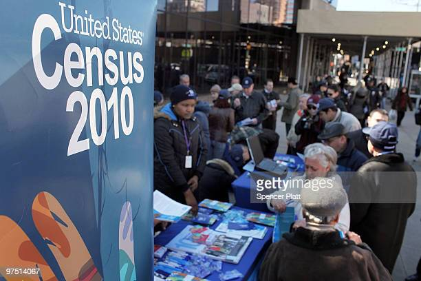 Census workers inform ethnic Russians of the upcoming census count in the Russian enclave of Brighton Beach March 7 2010 in the Brooklyn borough of...