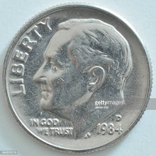 10 Cent = 1 Dime coin from 1984 with portraet of Franklin D Roosevelt