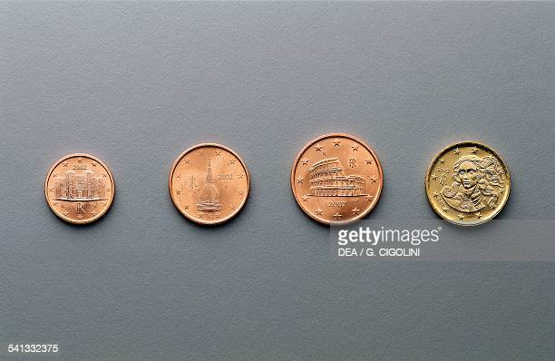 1 cent 2 cent 5 cent and 10 cent euro coins issued in Italy obverse depicting Castel del Monte near Andria Mole Antonelliana in Turin the Colosseum...
