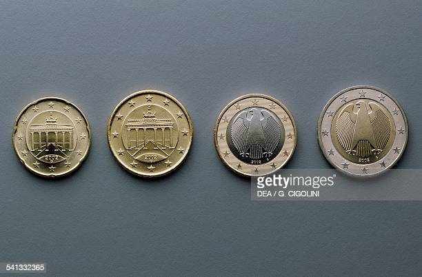 20 cent 50 cent 1 euro and 2 euro coins issued in Germany obverse depicting the Brandenburger Tor in Berlin German eagle Europe 21st century