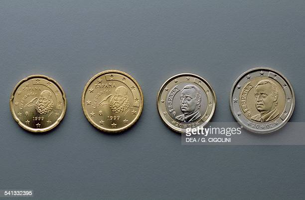 20 cent 50 cent 1 euro and 2 euro coins issued in Spain 19992002 obverse depicting Miguel de Cervantes King Juan Carlos I Europe 21st century