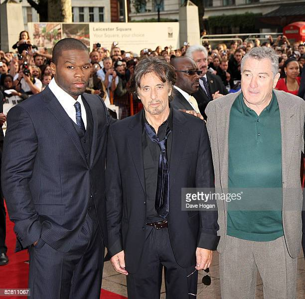 50 Cent Al Pacino and Robert De Niro attend the UK premiere of ' Righteous Kill' at the Empire cinema Leicester square on September 14 2008 in London...