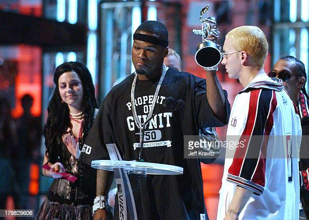 50 Cent and Eminem during 2003 MTV Video Music Awards Show at Radio City Music Hall in New York City New York United States