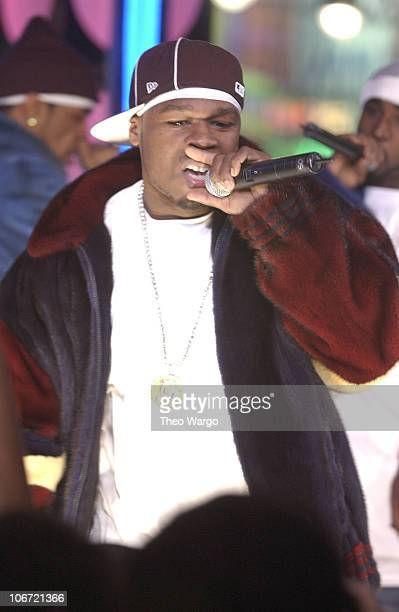 50 Cent and GUnit during Madonna 50 Cent and GUnit Alicia Keys Brendan Fraiser and POD Stop By Spankin' New Music Week on MTV's TRL November 13 2003...