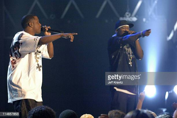 50 Cent and Mase during 2005 Spike TV Video Game Awards Show at Gibson Amphitheater in Universal City California United States