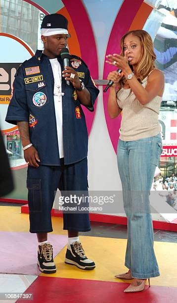 50 Cent and MTV VJ La La Vasquez during Kate Hudson 50 Cent and the Cast of 'Four Brothers' Visit MTV's 'TRL' August 9 2005 at MTV Studios Times...
