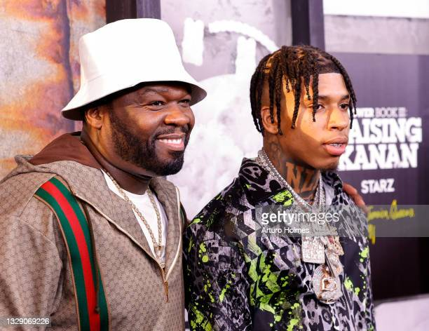 """Cent and NLE Choppa attends the """"Power Book lll: Raising Kanan"""" New York Premiere at Hammerstein Ballroom on July 15, 2021 in New York City."""
