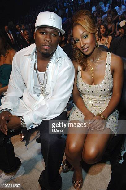 50 Cent and Olivia during 2005 MTV Video Music Awards Audience and Backstage at American Airlines Arena in Miami Florida United States