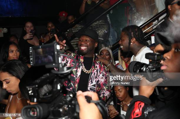 Cent and Pop Smoke attend Trey Songz 50 Cent Host The Big Game Weekend 2020 at Cameo on February 01 2020 in Miami Florida