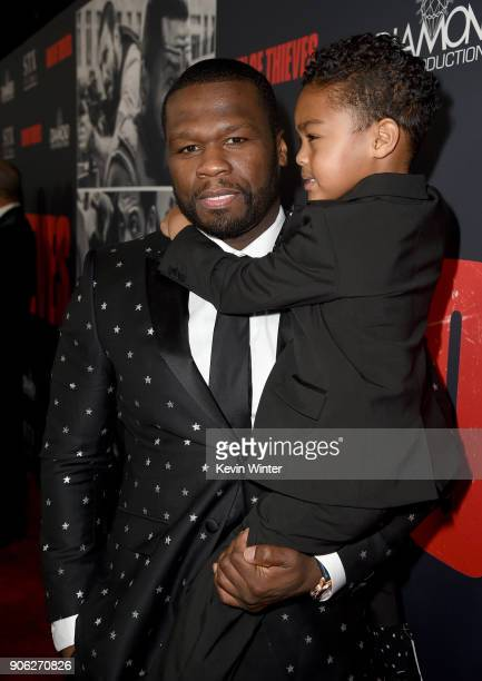 Cent and Sire Jackson attend the premiere of STX Films' 'Den of Thieves' at Regal LA Live Stadium 14 on January 17 2018 in Los Angeles California