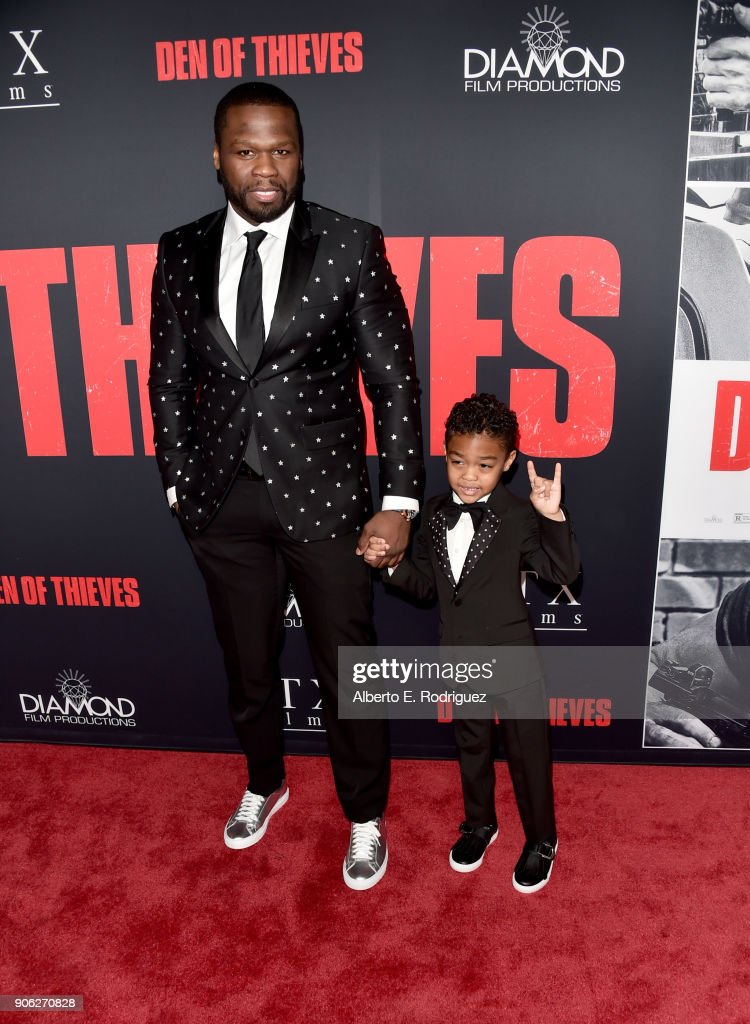 50 Cent and Sire Jackson attend the premiere of STX Films' 'Den of Thieves' at Regal LA Live Stadium 14 on January 17, 2018 in Los Angeles, California.