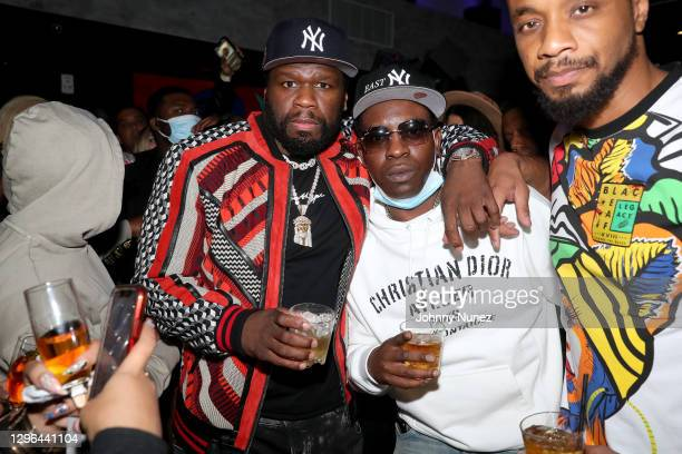 Cent and Uncle Murda attend Barry Mullineaux's birthday party hosted by 50 Cent on January 14, 2021 in Miami, Florida.