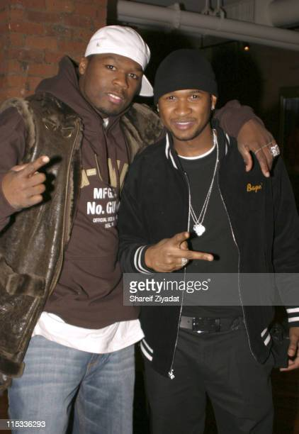 50 Cent and Usher during 50 Cent Hosts Private Screening of 'Get Rich or Die Tryin' October 29 2005 at Tribeca Screening Room in New York City New...