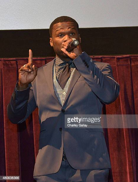 Cent attends the ESPN hosted screening of Southpaw at Regal Cinemas LA Live on July 13 2015 in Los Angeles California