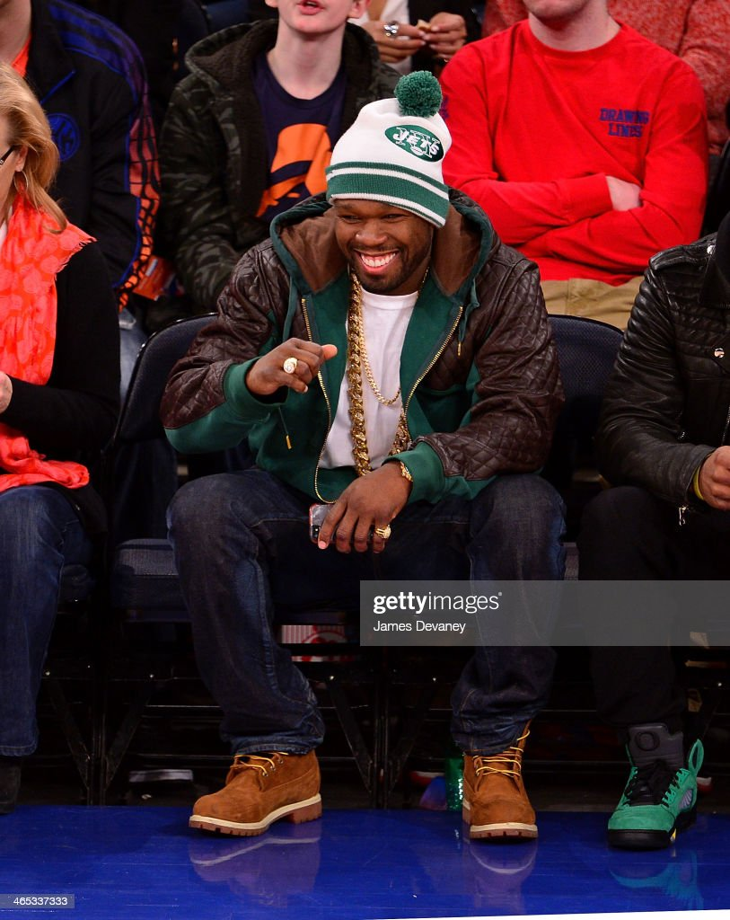 50 Cent attends the Los Angeles Lakers vs New York Knicks