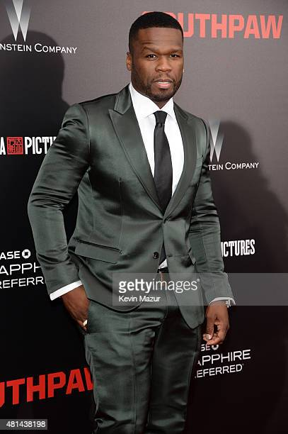 Cent attends the 'Southpaw' New York premiere at AMC Loews Lincoln Square on July 20 2015 in New York City
