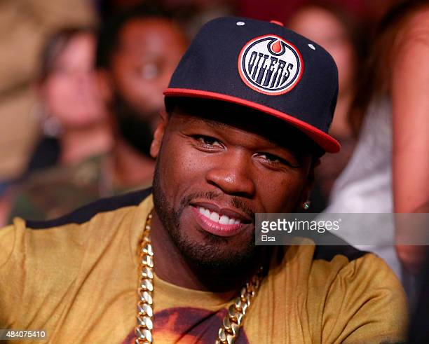 Cent attends the Steve Cunningham versus Antonio Tarver bout during the Premier Boxing Champions Heavyweight bout at the Prudential Center on August...