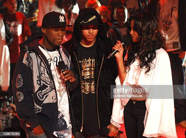 50 Cent Chris Brown and Ciara during BET's Rip the Runway 2007 Show at Hammerstein Ballroom in New York City New York United States