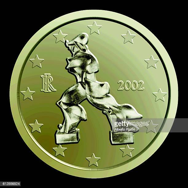 Cent coin depicting a contemporary work by Umberto Boccioni .