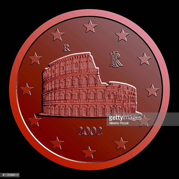 Cent coin depicting the Coliseum.