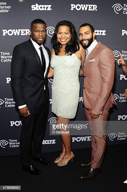 50 Cent Courtney Kemp Agboh and Omari Hardwick attend the Power Season Two Series Premiere at Best Buy Theater on June 2 2015 in New York City