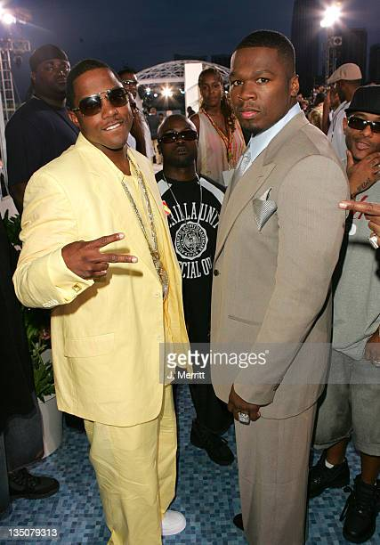 50 Cent during 2005 MTV Video Music Awards MTV News Platform Arrivals at American Airlines Arena in Miami Florida United States